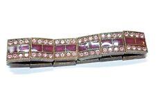 "Pink Rhinestone Purple Enamel Dark Coppertone Panel Stretch Bracelet 7"" Preloved"