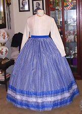 CIVIL WAR DRESS~VICTORIAN STYLE ROYAL BLUE & WHITE COTTON GINGHAM SKIRT~DS WAIST