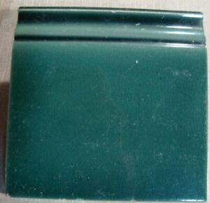 Deep bluish Green Original period baseboard majolica tile 6x6 Belgium ca1900