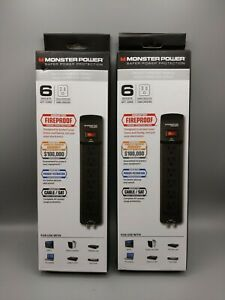 Lot of 2 Monster 121825 6 Outlet Extreme Power Surge Protector