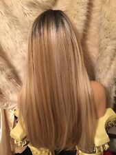 Rooted Blend Of Browns,& Blondes, Skin Side Part Baby Hairs Long Wig