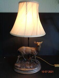 Cold Cast Bronze Stag Deer Table Desk Lamp