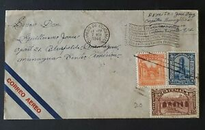 1943 Guatemala Bluefields Nicaragua Country Eternal Spring Cachet Airmail Cover