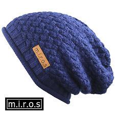 donna lungo berretto NICKY Blu Marina/fatto a mano maglia cappello invernale