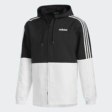 Adidas Essentials 3-stripes Windbreaker/jacket Hoodie Men's Sz M FI8169 Blk/wht
