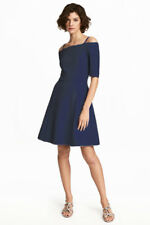 H&M Vestito Blu In Crêpe New With Tag! Meghan Markle Style RP 40€