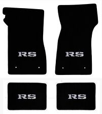 NEW! 1967-1969 Camaro Floor Mats Black Carpet Embroidered Silver RS Logo on all