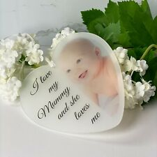 I love my mummy soft photo personalised acrylic heart  New Baby Mothers Day