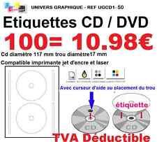 100 Etiquettes pour CD DVD autocollante pour imprimante jet d'encre ET  laser