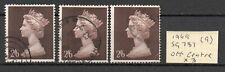 QEII *  3 No. 1969 SG787 2/6d MACHIN HIGH VALUE STAMPS * USED * OFF CENTRE* D103