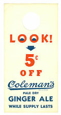 Vintage Coleman's Ginger Ale, 5 Cents Off in Trade Paper Coupon