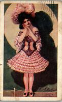 Artist Waskow Dance Hall Showgirl with pink dress 1908 Vintage Postcard AA-004