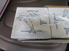 "Set of 4 JEFFREY COURT Decorative Accent Pool Border Dolphin TILE 4 1/2"""