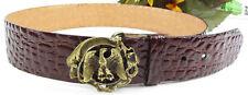 """Vintage Signed Alligator Print Leather Belt w Unique Cast Brass Eagle Buckle 32"""""""