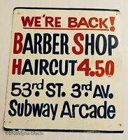 Vintage New York City Barber Shop Tin Painted Advertising Sign Folk Art NYC