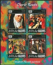 MALDIVES 2014 ART GREATEST FLEMISH ARTISTS DIERIC BOUTS SHEET OF FOUR