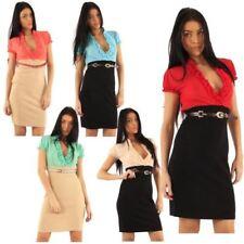 Collar Short Sleeve Stretch Dresses for Women
