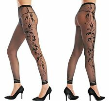 Ladies Sexy Black Fishnet Floral Opaque Footless TIGHTS BEST QUALITY BLACK 8-12
