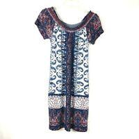Lucky Brand Women's Smocked Neck Dress Size XS Off the Shoulder Paisley 51K