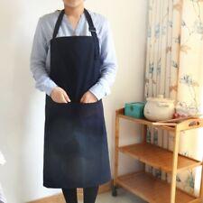 Waterproof 100%Cotton 2 Pockets Bib Apron Unisex Cooking baking BBQ Kitchen Chef
