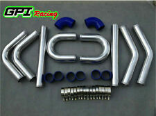"3"" INCH 76mm UNIVERSAL ALUMINUM INTERCOOLER TURBO PIPE PIPING KIT BLUE HOSE"