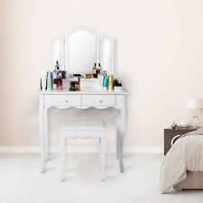 Wood White Vanity Dressing Makeup Table Set Round 3mirror Drawers With Stool