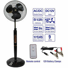 "16"" Inch Rechargeable Battery Operated Pedestal Floor Fan - Black w/Remote"