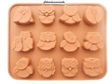 12 FORI IN SILICONE CIOCCOLATO ANIMALE GUFO Uccellino Stampo gelatina GHIACCIO Torta al Cioccolato