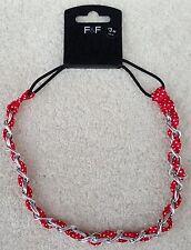 F & F 2 x Fabric Metal Hair Grip Ladies Hair Band Silver Red White Spot MRP£3-00