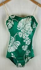 DeWeese Design Womens Swimsuit Vintage 1970's Green One Piece Size 14/36