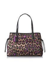 Coach Ocelot Print Crystall Carryall Shoulder Bag Purse Leopard Violet F25281