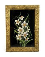 Antique 19th Century Victorian Floral Oil Painting on Glass White Yellow Flowers