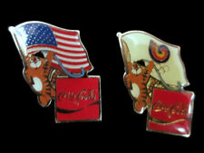 Coca-Cola 1988 Seoul South Korea Olympic Lapel Pin Set South Korean and US Flag