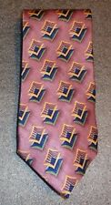 fine Nordstroms mens silk necktie  gold windows print on mauve