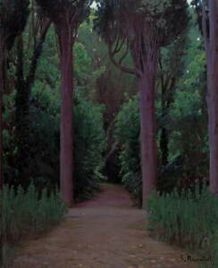 Santiago Rusino Path in a Park Giclee Canvas Print Paintings Poster LARGE SIZE