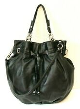 Coach XL Peyton Slouchy Drawstring Black Leather Tote Handbag #14508
