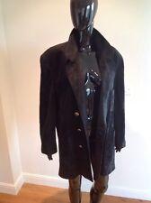 Sylvie Schimmel Cuir Noir Veste/manteau français 42 UK 14 Fab haute couture