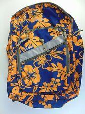 LL Bean Backpack Hawaiian Hibiscus Floral Blue Orange Shoulder Travel Bag