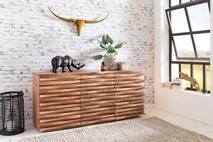 WOHNLING Sideboard Massivholz Akazie 160 cm Anrichte Schublade Kommode Schrank