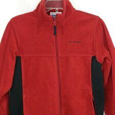 Columbia Fleece Jacket Boys Size 14-16 Burgundy Brick Red Long Sleeve Pockets