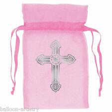 12 Pink Girl's 1st Holy Comunione ORNATA CROSS partito Organza Tessuto Favore Borse