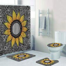 4/3/1pcs Art Sunflower Shower Curtain Bath Curtains Rugs Toilet Seat Cover Sets