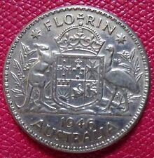 AUSTRALIA ONE FLORIN SILVER COIN  1946  (KING GEORGE VI)    (AA-06)
