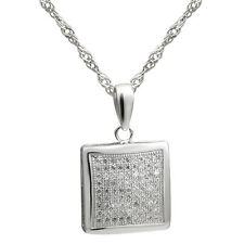 """Sterling Silver Jewelry, White CZ Square Pendant, 17.5"""" Extension Chain"""