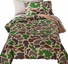 Full Bed in a Bag Green Camoflauge Comforter Set Sheets Shams 7 pc Camo Bedding