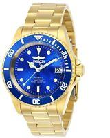 Invicta Men's Watch Pro Diver Automatic Blue Dial Yellow Gold Bracelet 24763