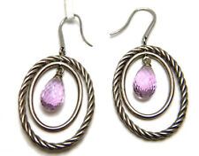 David Yurman Silver Oval Mobile with Drop Earrings Amethyst NWT