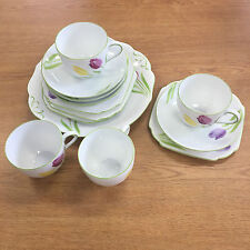Vintage Victoria Czechoslovakia Tea Set Hand Painted Cup Saucer Plate Floral in