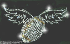 Football with Wings Rhinestone Transfer Football Mom Bling Applique Iron On