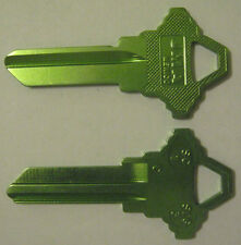 2 LIGHT GREEN BLANK HOUSE KEYS FOR SCHLAGE LOCK SC1 CAN BE PUNCHED TO YOUR CODE